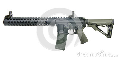 Left Side Supressed AR15 SBR with 30rd mag and collapsed stock