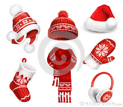 Winter clothes. Santa stocking cap. Knitted hat. Christmas sock. Scarf. Mitten. Earmuffs. Vector icon