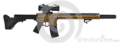 Burnt Bronze AR15 with suppresor and 30rd mag