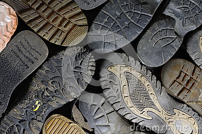 old soled shoes