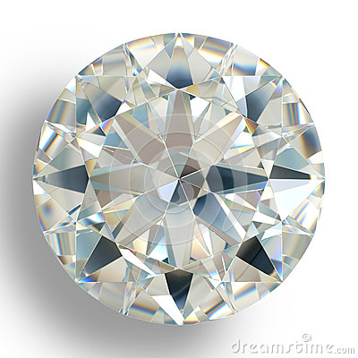 Picture diamond jewel on white background. Beautiful sparkling shining round shape emerald image.