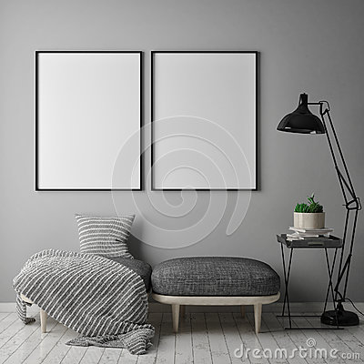 Mock up poster frame in hipster interior background, scandinavian style, 3D render,