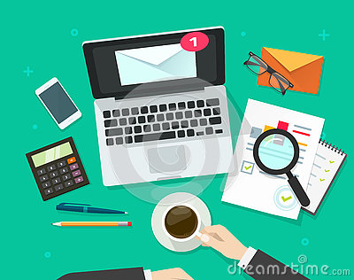 Email marketing vector illustration, email analyzing or inspecting newsletter campaign