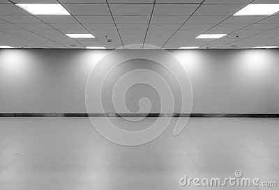 Perspective view of Empty Space Classic Monotone Black White Office Room with Row Ceiling LED Light Lamps and Lights Shade on Wall