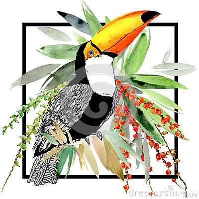 Toucan. Exotic nature background. tropical plant.