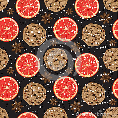 Seamless Christmas pattern with American cookies, anise and grapefruit. Vector illustrated fragrant holiday tile background.