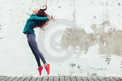 stock image of fitness sport girl in the street
