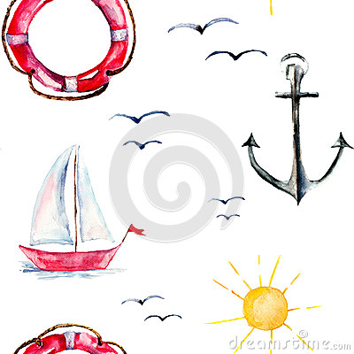 Seamless wallpaper with Life buoy, anchor and ships