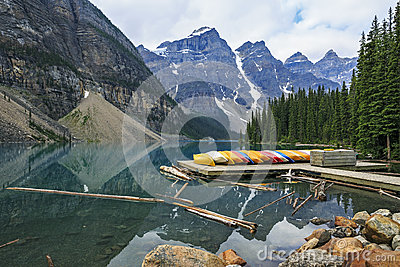 Moraine Lake and colorful canoes in Banff National Park, Alberta, Canada