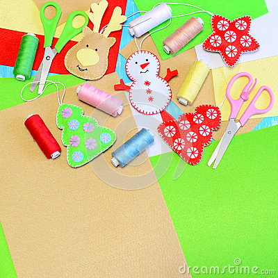 Christmas tree ornaments crafts. Felt Christmas tree, star, snowman, deer crafts, colored thread set, felt sheets, needles