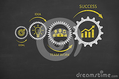 stock image of gear team work success concepts on blackboard