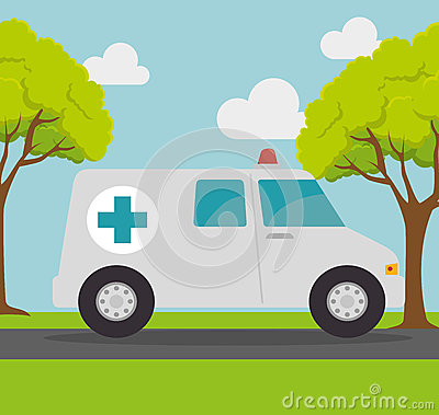 Ambulance transport emergency landscape background