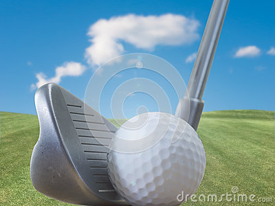 Golf club, ball and nature