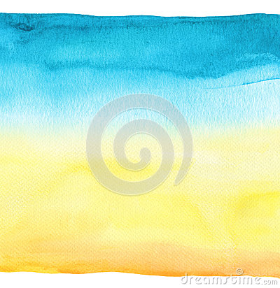 Abstract blue watercolor hand painted background. Textured paper