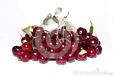 Red ripe cherry berries isolated