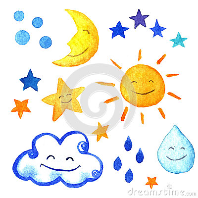 Weather watercolor set of icons. Cute smiling sun, moon, star, drops, and cloud. hand painted illustration.