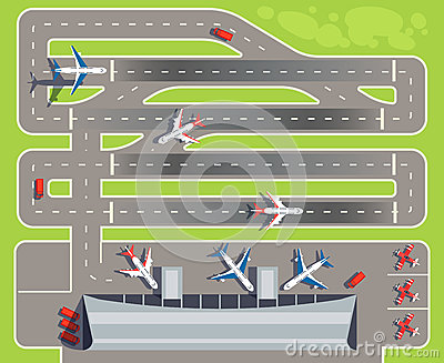 Airport with passenger terminal, airplanes, helicopters top view vector illustration