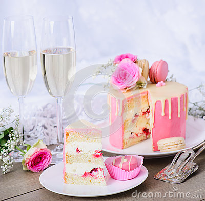 Wedding cake with pink frosting