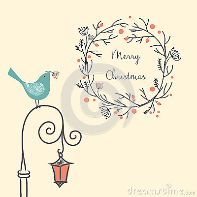 Christmas wreath with bird on the old street light. Vintage New Year and Christmas element. Christmas greeting card.