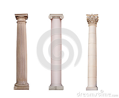 Ancient columns of Ionic, Doric and Corinthian ordo are isolated