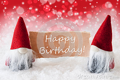 Red Christmassy Gnomes With Card, Text Happy Birthday
