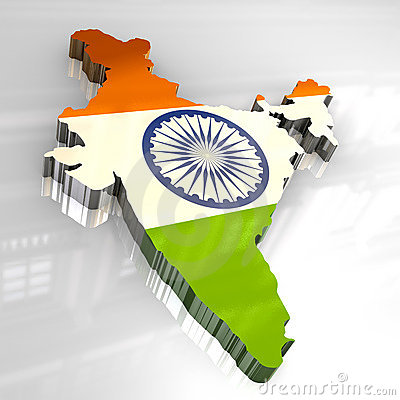 India Map Flag.3d Flag Map Of India