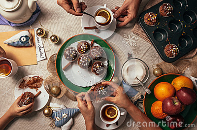 Advent time tea party with homemade muffins