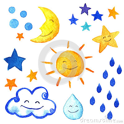 Weather watercolor set of icons. Cute smiling sun, moon, star, drops, and cloud.