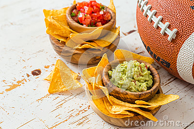 Football party food, super bowl day, nachos salsa guacamole