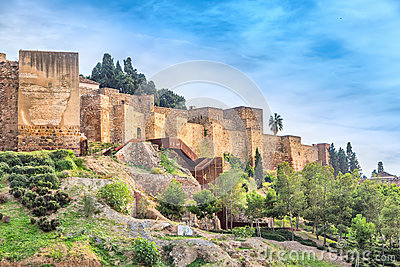 Walls of Alcazaba fortress in Malaga