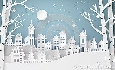 Winter Snow Urban Countryside Landscape City Village