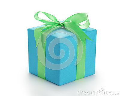 Blue paper giftbox with green ribbon bow isolated