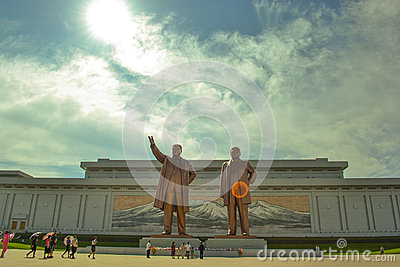 Bronze statue of Kim Il Sung and Kim Jong Il in Mansudae, Pyongyang, North Korea