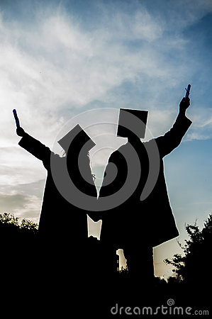 Graduated girl and boy silhouette, Graduation student, Girl and boy graduate,