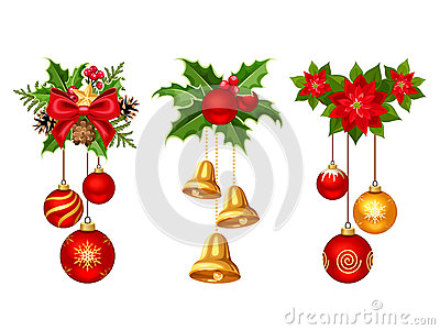 Christmas decorations with balls and bells. Vector illustration.