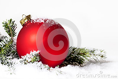 Red Christmas Ornament Snow Pine