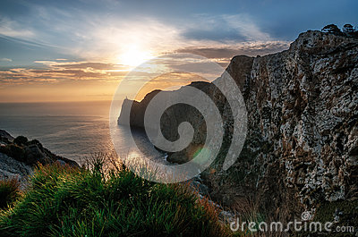 Lighthouse at Cap de Formentor in Mallorca at the sunrise