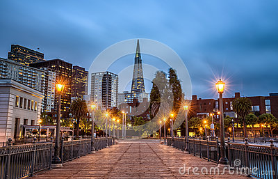 San Francisco skyline from Pier 7 after sunset