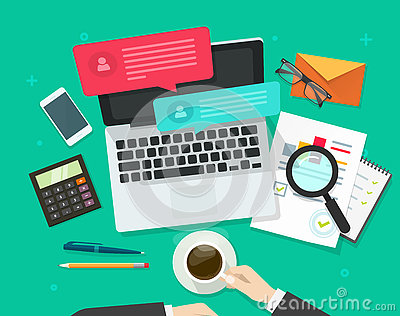 Social media marketing analysing, online dialog, statistics research, workplace