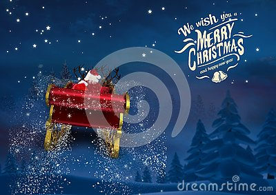 3D Santa claus riding reindeer sleigh towards the sky
