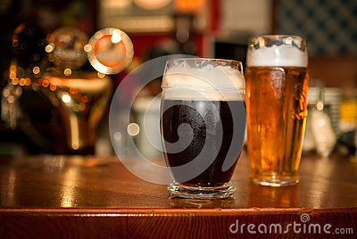 Cold dark beer in glass