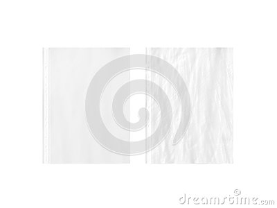 Blank white empty A4 transparent plastic sleeve mockup, plain, creased,