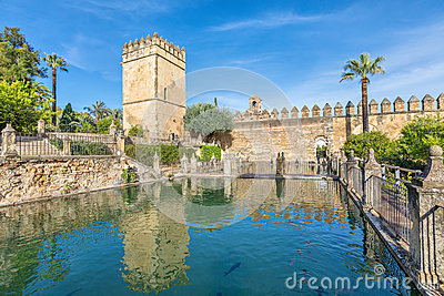 Pond in gardens of Alcazar of the Christian Monarchs in Cordoba