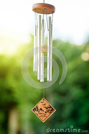 Feng shui chimes with nature in the background