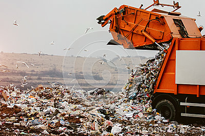 Garbage truck dumping the garbage