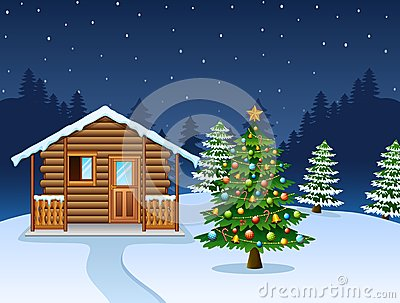 Christmas night scene with a snowy wooden house and decorated fir tree