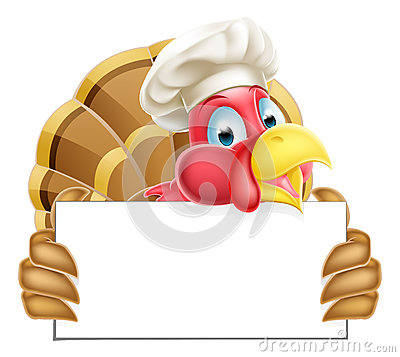 Chef Cartoon Turkey Sign