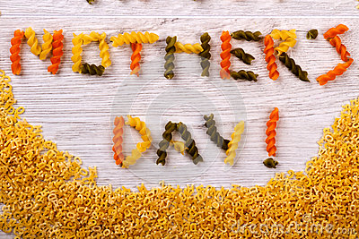 Mother`s Day pasta formed text.