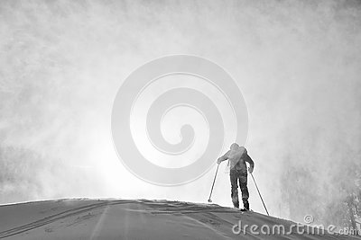 Ski touring in harsh winter