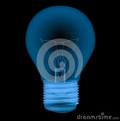 X ray light bulb isolated on black